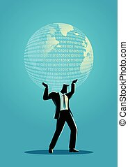 zakenman, globe, vasthouden, digitale