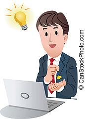 zakenman, goed, idee, krijgen