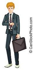 zakenman, grijs kostuum