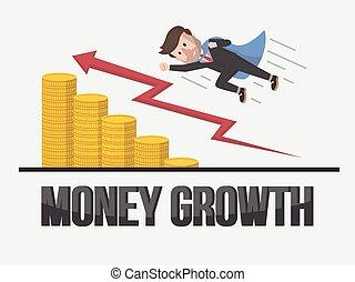 zakenman, groei, fantastisch, geld