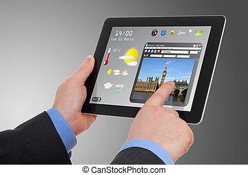 zakenman, grondig, een, toerisme, informatie, op, tablet