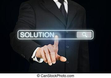 zakenman, grondig, voor, oplossing