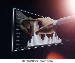 zakenman, hand, beroeren, feitelijk, diagram
