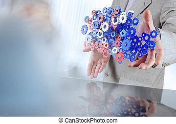 zakenman, hand, cogs, toestellen, het tonen, succes, concept