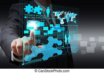zakenman, hand, punt, op, feitelijk, zakelijk, netwerk