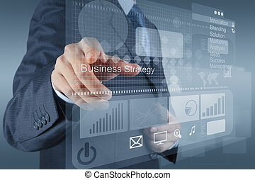 zakenman, hand, punten, om te, handel strategie