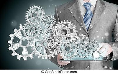 zakenman, hand, tandwiel, succes, beroeren, concept