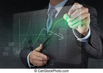 zakenman, hand, tekening, feitelijk, tabel, zakelijk