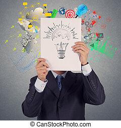 zakenman, hand, tonen, gloeilamp, op wit, dekking, boek, van, succes