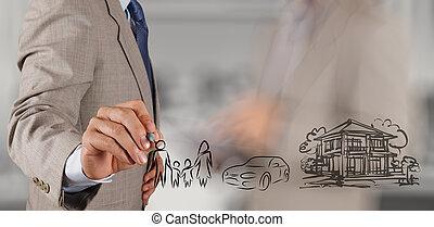 zakenman, hand, tonen, planning, gezin, toekomst, op,...