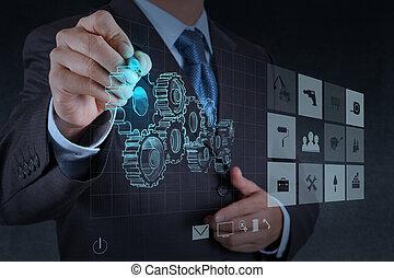 zakenman, hand, verlekkeert, tandwiel, om te, succes