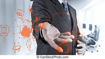 zakenman, hand, werkende , met, een, wolk,...