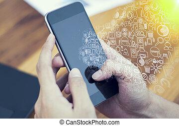 zakenman, hand, werkende , met, nieuw, moderne, computer, en, bedrijfstechnologie, concept