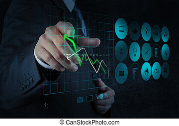 zakenman, hand, werkende , met, nieuw, moderne, computer, en, handel strategie, als, concept