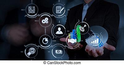 zakenman, hand, werkende , met, nieuw, moderne, computer, en, handel strategie