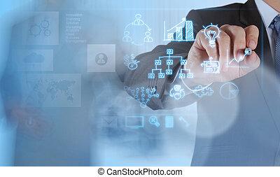 zakenman, hand, werkende , met, nieuw, moderne, computer, en, zakelijk, s