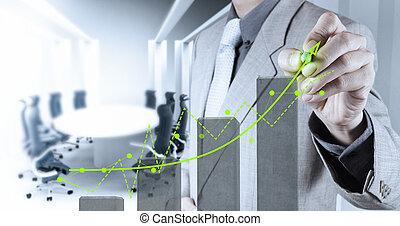 zakenman, hand, werkende , met, nieuwe computer, interface, tonen, gebouw, ontwikkeling, concept