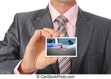 zakenman, handing, kaart