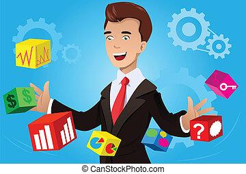 zakenman, hebben, een, idee, concept