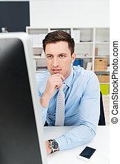 zakenman, het concentreren, op, zijn, werken