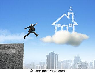 zakenman het lopen, en, springt, op, wolk, mijmeren huis