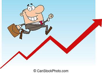 zakenman het lopen, omhoog