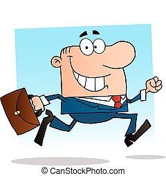 zakenman het lopen, werken