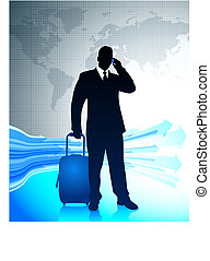 zakenman, het reizen, ongeveer, wereld