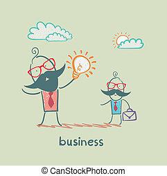zakenman, het tonen, ??a, idee, ondergeschikte