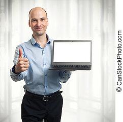 zakenman, het tonen, computer, draagbare computer, leeg
