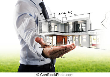 zakenman, het tonen, een, moderne, kantoor, plan