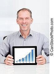 zakenman, het tonen, grafiek