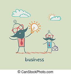 zakenman, het tonen, idee, van, ??a, ondergeschikte