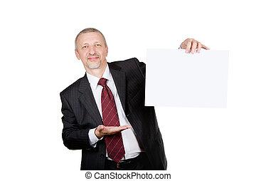 zakenman, het tonen, leeg blad, van, papier