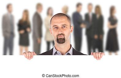 zakenman, het tonen, leeg, lege, witte , buitenreclame, meldingsbord