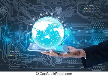 zakenman, het tonen, smart, telefoon, met, globe
