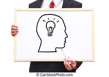 zakenman, het tonen, witte , idee, plank