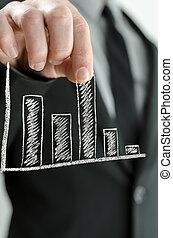 zakenman, het trekken, feitelijk, grafiek, zuil, omhoog