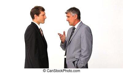 zakenman, het verklaren, iets, om te, zijn, werknemer