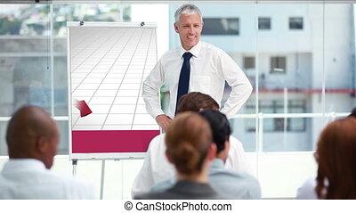 zakenman, het voorstellen, een, tabel
