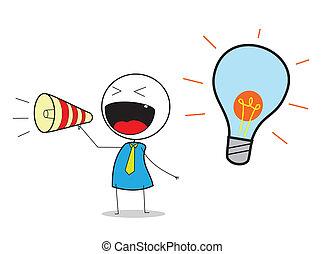 zakenman, idee, aankondigen