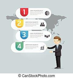 zakenman, illustratie, icons., vector, presentation., infographic, ontwerp, marketing