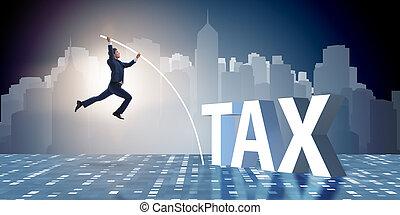 zakenman, in, belastingontduiking, vermijding, concept