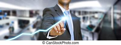 zakenman, in, zijn, kantoor, gebruik, tast, interface