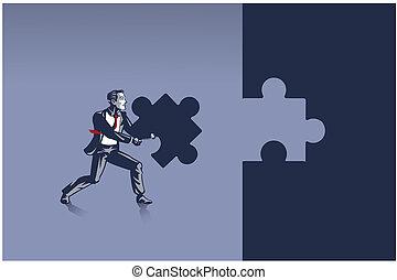 zakenman, informatietechnologie, correct, verdragend, gereed, raadsel, plek, concept, illustratie, decouperen fragment