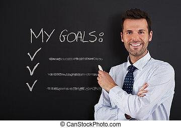 zakenman, is, gereed, om te, schrijvende , zijn, doelen