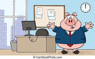 zakenman, karakter, kantoor, varken