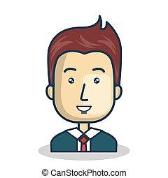 zakenman, karakter, plat, pictogram