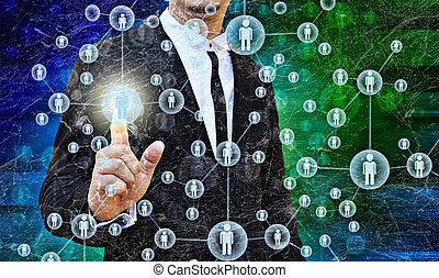 zakenman, kies, de, rechts, persoon, in, de, oud, textuur