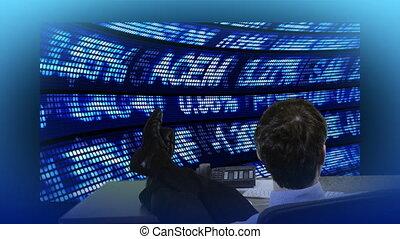 zakenman, kijken naar, de, stockdata